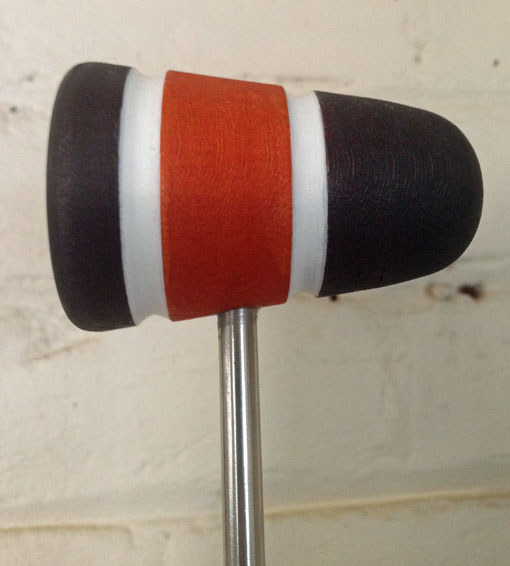 Wood Bass Drum Beater - Black/Orange/Black with White Stripes