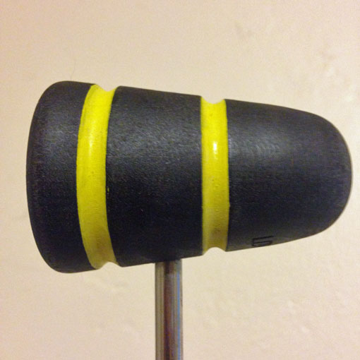 Standard Collection Wood Bass Drum Beater - Black with Yellow Stripes