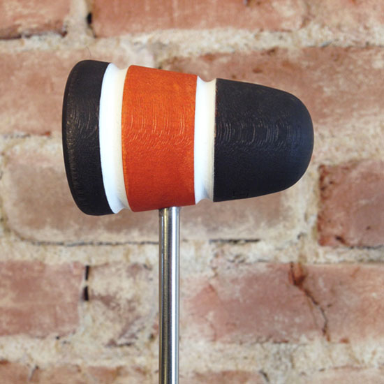 Black, Orange and White Wood Bass Drum Beater