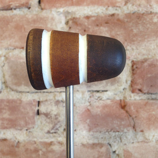 Brown and White Wood Bass Drum Beater