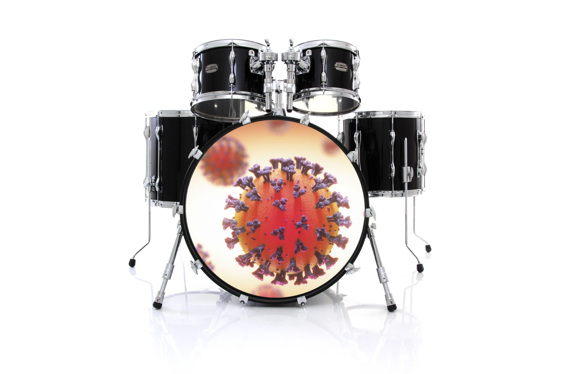 Drum Set with Coronavirus Bass Drum Head