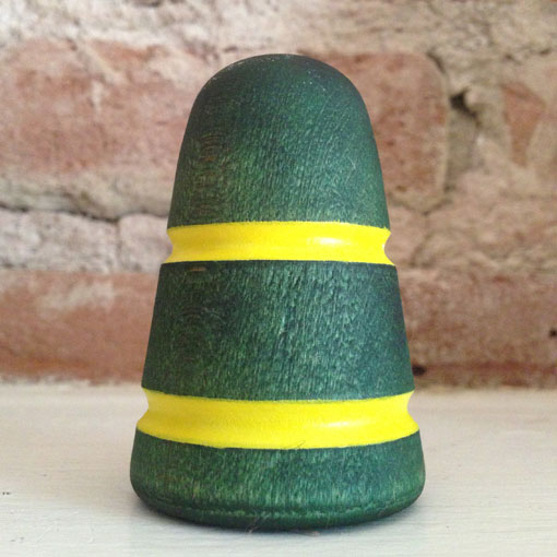 Standard Collection Wood Bass Drum Beater - Green with Yellow Stripes
