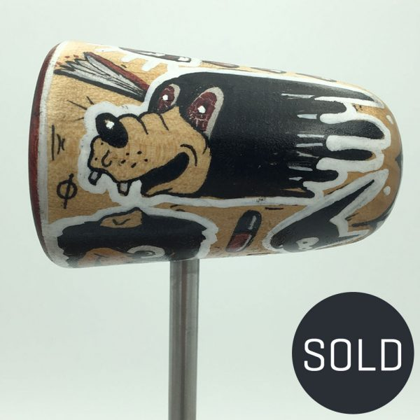 Hand Painted Hayden Menzies Wood Bass Drum Beater