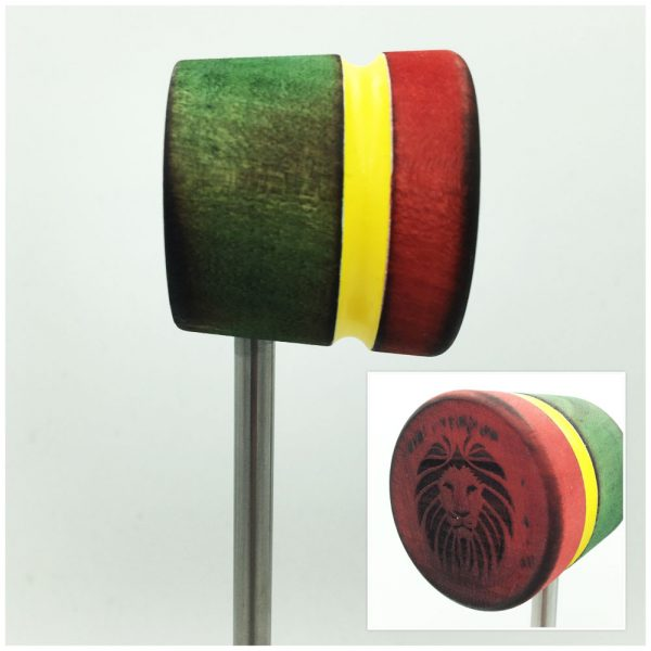 Scorched/Rasta w/Engraved Lion Head Bass Drum Beater