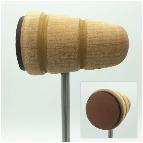Natural w/Mustard Stripes Leather Bass Drum Beater