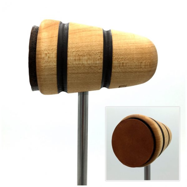 Natural w/Brown Stripes Leather Bass Drum Beater