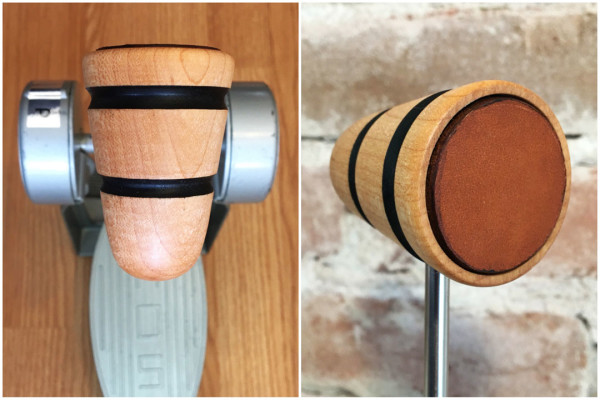 Wood & Leather Bass Drum Beater - Natural w/Black Stripes