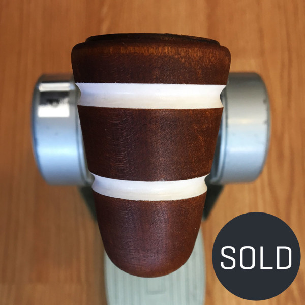 Wood & Leather Bass Drum Beater - Brown w/White Stripes