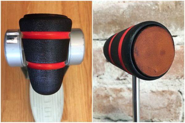 Wood & Leather Bass Drum Beater - Black w/Red Stripes