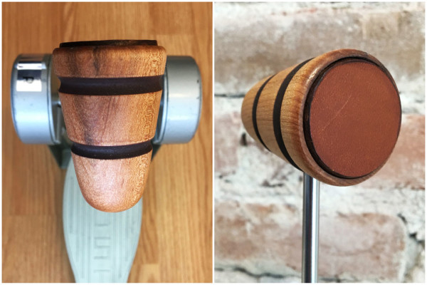 Wood & Leather Bass Drum Beater - Natural w/Brown Stripes