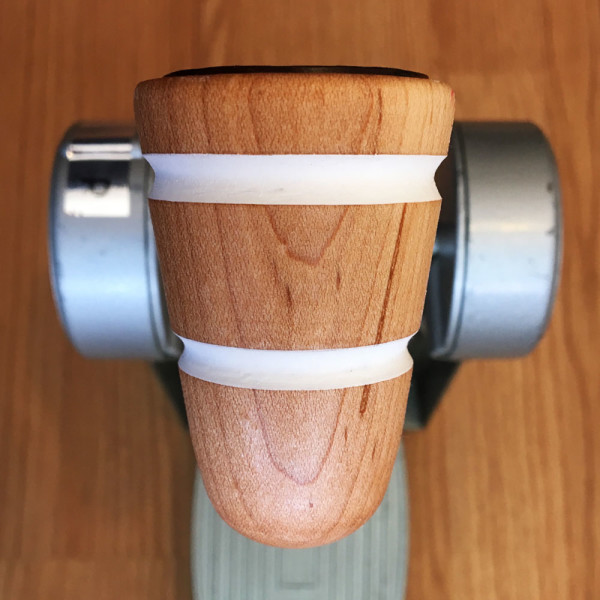 Wood & Leather Bass Drum Beater - Natural w/White Stripes