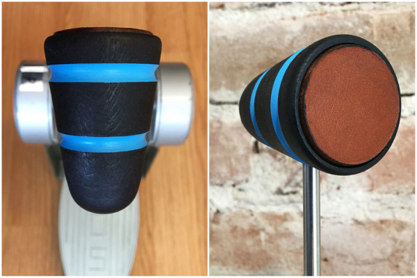 Wood & Leather Bass Drum Beater - Black w/Shock Blue Stripes