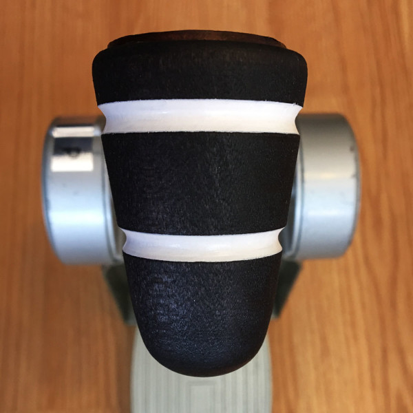 Wood & Leather Bass Drum Beater - Black w/White Stripes