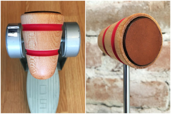 Wood & Leather Bass Drum Beater - Natural w/Red Stripes