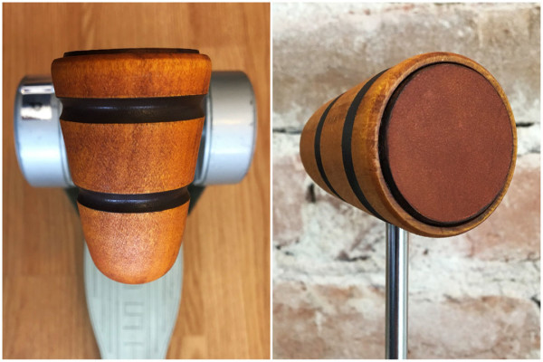Wood & Leather Bass Drum Beater - Amber w/Black Stripes