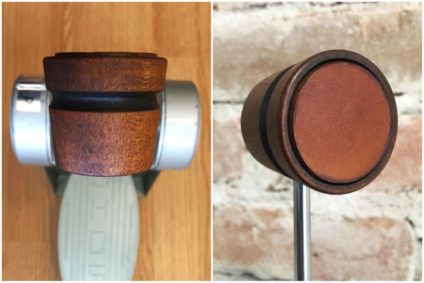 Wood & Leather Lightweight Bass Drum Beater - Medium Brown w/Black Stripe