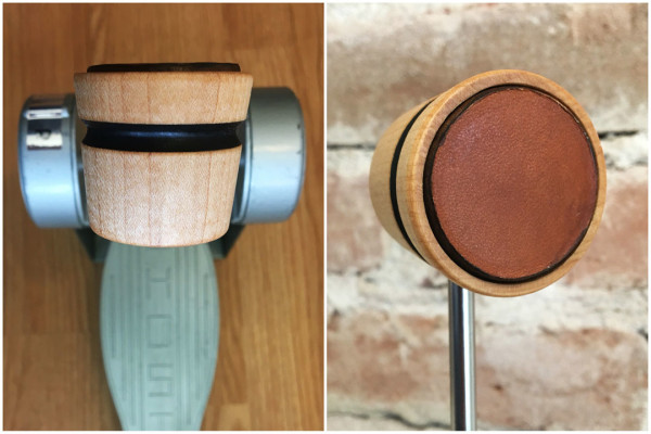 Wood & Leather Lightweight Bass Drum Beater - Natural w/Black Stripe