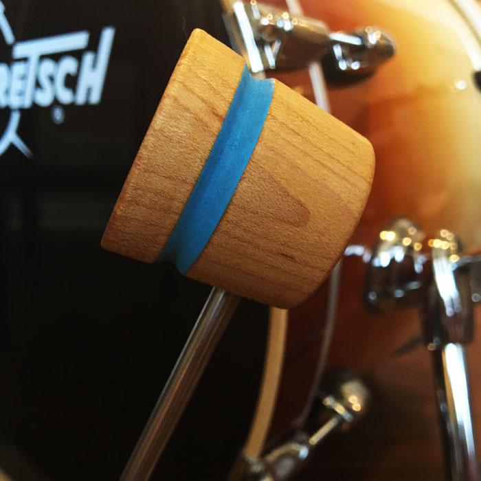 Natural & Shock Blue Lightweight Wood Bass Drum Beater