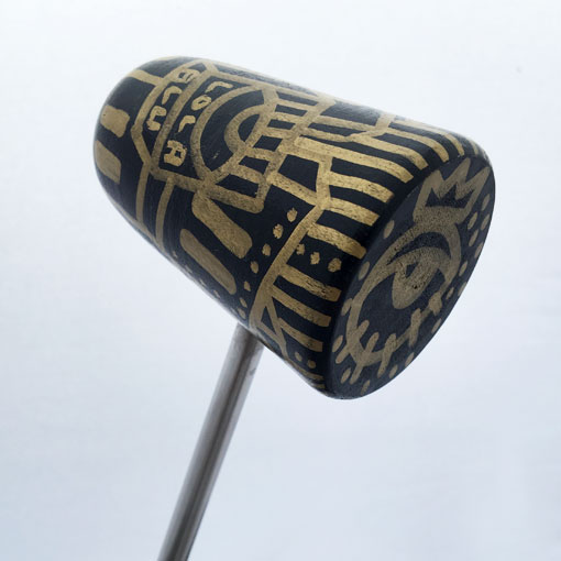 Hand Painted Lola Blue Bass Drum Beater - Black and Gold