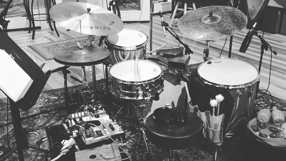 Scott's kit in the studio with Invisible Bird