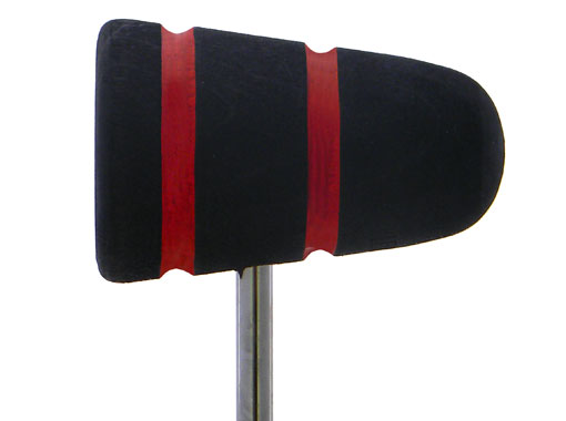 Low Boy Wood Bass Drum Beater - Black with Red Stripes