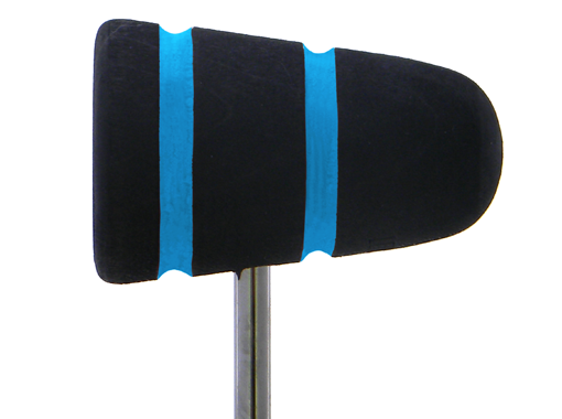 Low Boy Wood Bass Drum Beater - Black with Shock Blue Stripes