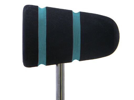 Low Boy Wood Bass Drum Beater - Black with Turquoise Stripes