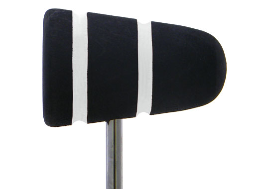 Low Boy Wood Bass Drum Beater - Black with White Stripes